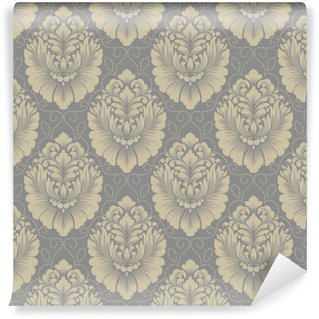 Vinylová Tapeta Vektorové damaškové bezešvé vzorek pozadí. klasický luxusní staromódní damaškový ornament, královská viktoriánská bezproblémová textura pro tapety, textil, obal. nádherná květinová barokní šablona