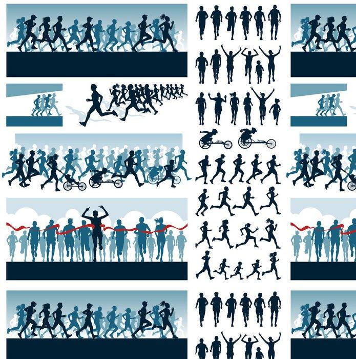 Tapeta Pixerstick Vektorové editovatelné štítky a siluety běžících lidí - Individuální sporty