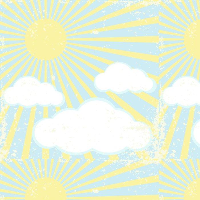 Tapeta Pixerstick Vektorové grunge pozadí s slunce a mraky - Témata