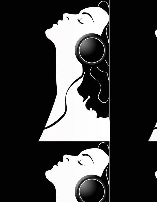 Tapeta Pixerstick Vektorové ilustrace dívka se sluchátky ní. - Umění a tvorba