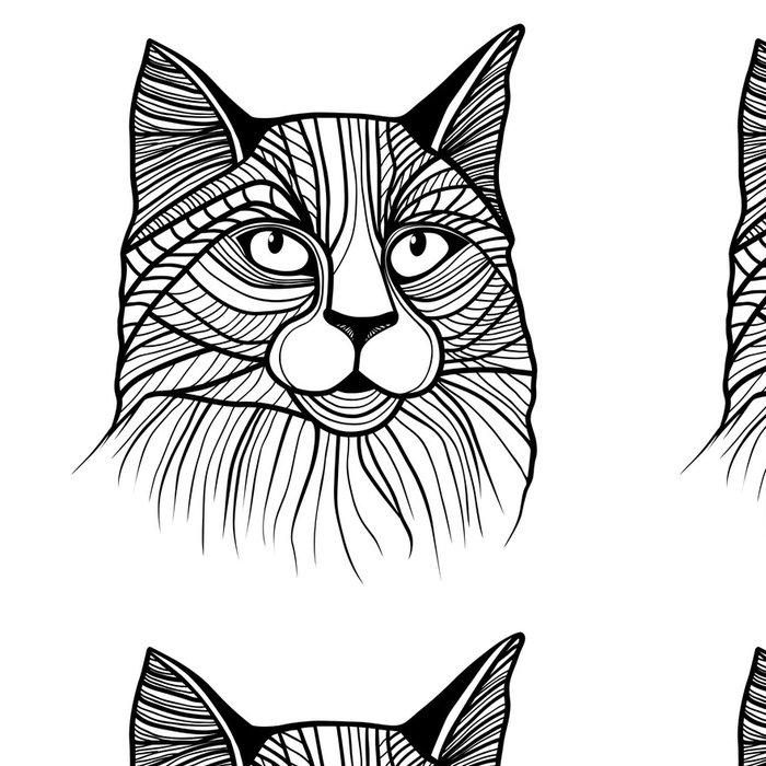 Tapeta Pixerstick Vektorové ilustrace kočičí hlavy - Styly