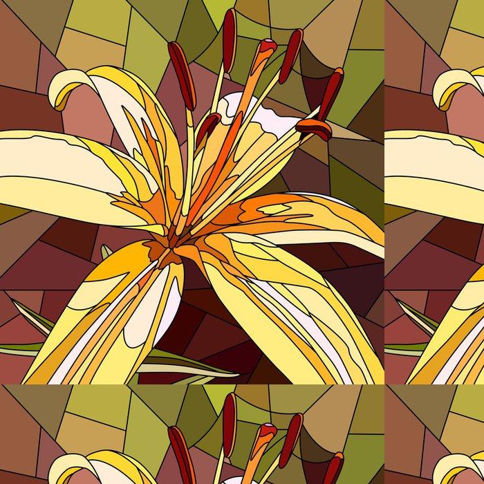 Tapeta Pixerstick Vektorové ilustrace květin žluté lilie. - Květiny