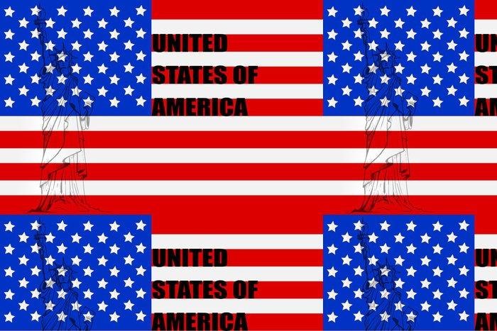 Vinylová Tapeta Vektorové ilustrace socha Libertyon americkou vlajku - Umění a tvorba