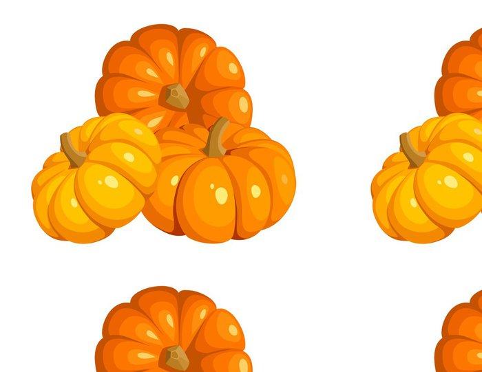 Tapeta Pixerstick Vektorové ilustrace ze tří oranžové dýně - Jídla