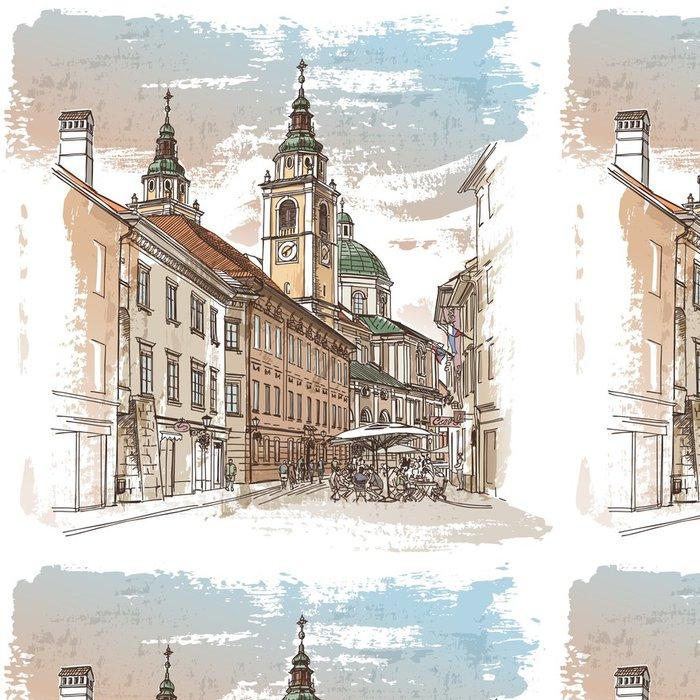 Tapeta Pixerstick Vektorové kreslení hlavní ulici starého evropského města - Témata