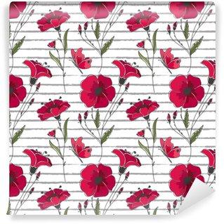 Vinylová Tapeta Vektorové květinové bezešvé vzor. barevné květinové vzorek s červenými vlčí máky na pruhované pozadí.