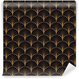 Vinylová Tapeta Vektorové květinové umění secesní bezproblémové vzorek. geometrické dekorativní listy textury. retro stylové pozadí.