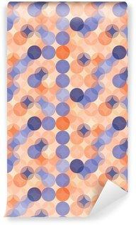 Tapeta Pixerstick Vektorové moderní bezešvé barevné geometrie vzor kruhy, barva modrá oranžová abstraktní geometrické pozadí, tapety tisk, retro textura, bederní módní návrhářství, __