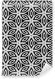 Tapeta Pixerstick Vektorové moderní bezešvé posvátné geometrie vzorek, černá a bílá abstraktní geometrické květ života pozadí, tapety tisku, monochromatické retro textura, hipster módní design