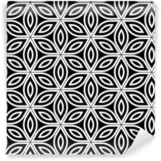 Vinylová Tapeta Vektorové moderní bezešvé posvátné geometrie vzorek, černá a bílá abstraktní geometrické květ života pozadí, tapety tisku, monochromatické retro textura, hipster módní design
