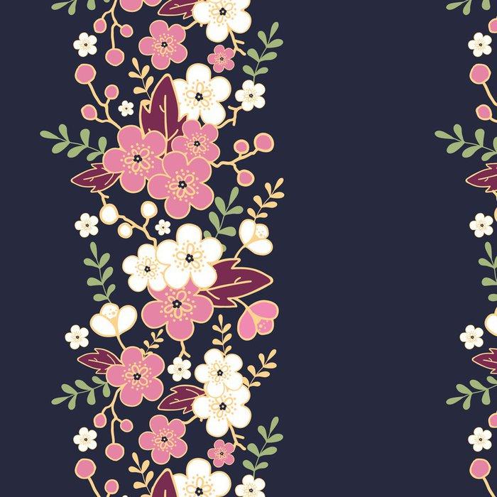 Tapeta Pixerstick Vektorové noc zahrada sakura květy vertikální bezešvé vzor - Květiny