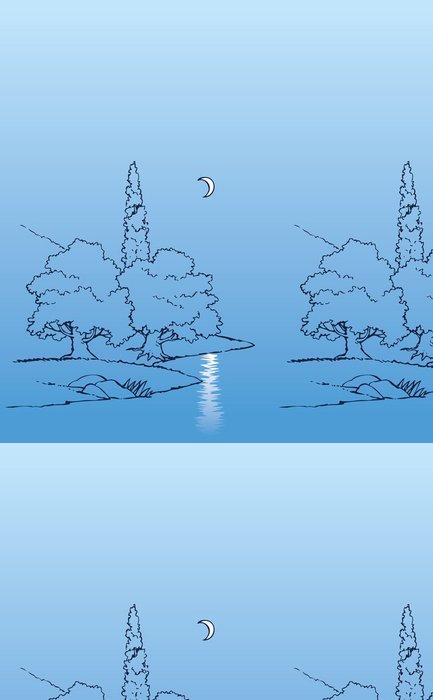 Tapeta Pixerstick Vektorové noční krajina. Půlměsíc nad řekou a stromy - Roční období