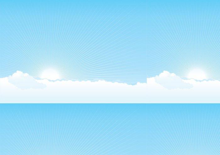 Vinylová Tapeta Vektorové pozadí zatažené obloze se sluncem a paprsky - Nebe
