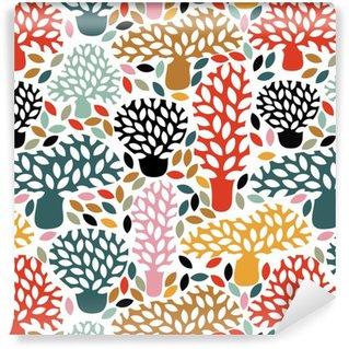 Vinylová Tapeta Vektorové vícebarevný vzor bezešvé s rukou vypracován doodle stromů. Abstraktní podzimní pozadí přírody. Design pro tkaniny, textilní pádě tisky, balicí papír.