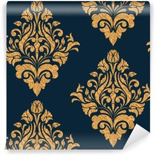 Vinylová Tapeta Vektorový damaškový bezešvý vzorový prvek. klasický luxusní staromódní damaškový ornament, královská viktoriánská bezproblémová textura pro tapety, textil, obal. nádherná květinová barokní šablona.