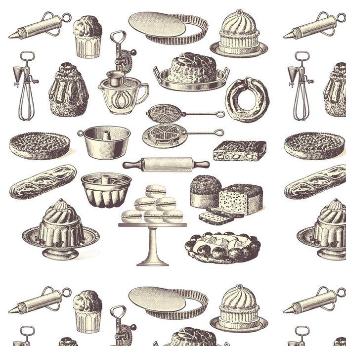 Tapeta Pixerstick Velká sbírka ročník pekařských konstrukčních prvků - Nálepka na stěny