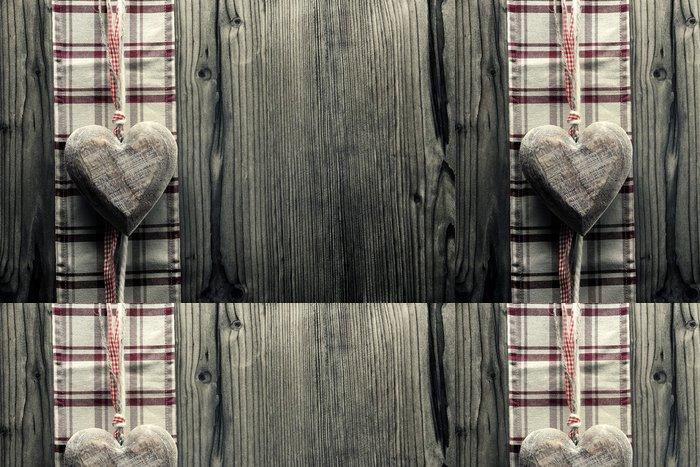 Tapeta Pixerstick Velké srdce na dřevo - na kostkované tkaniny - Mezinárodní svátky