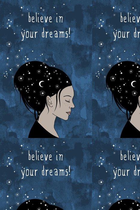 """Tapeta Pixerstick """"Věří ve své sny!"""" - Ručně kreslenými portrét ženy s tmavými vlasy a hvězdy - Duševní stavy"""