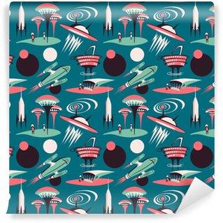 Vinylová Tapeta Vesmírné město budoucnosti - vektorové bezproblémové vzorek. design vesmíru s raketami a moderním městem.
