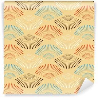 Vinylová Tapeta Vícebarevná japonský tvaru stylu fan bezešvé vzor