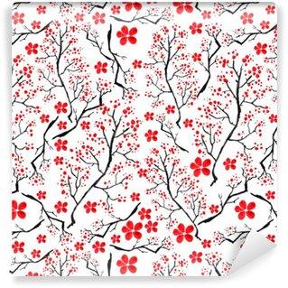 Vinylová Tapeta Vintage akvarel vzor - dekorativní větev třešně, třešeň, rostliny, květiny, prvky. Může být použit v designu, obalů, textilií a tak dále.