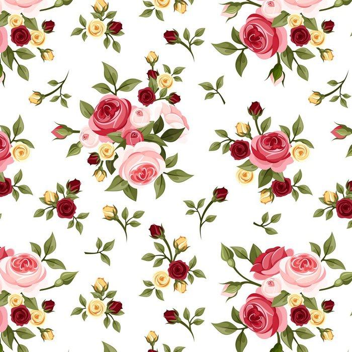 Vinylová Tapeta Vintage bezešvé vzor s růžemi. Vektorové ilustrace. - Pozadí