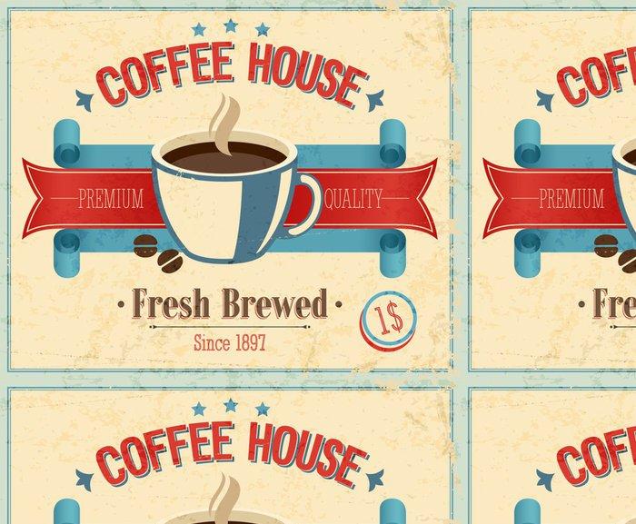 Tapeta Pixerstick Vintage Coffee House kartu. Vektorové ilustrace. - Jídla