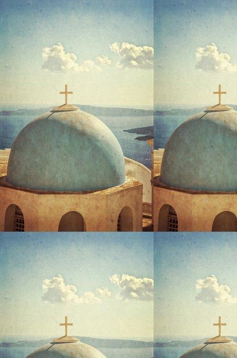 Tapeta Pixerstick Vintage kostel a panorama - Santorini Řecko - Prázdniny