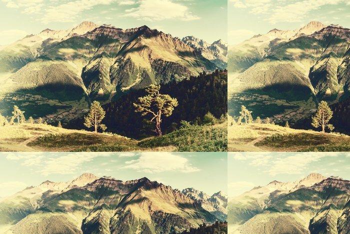 Tapeta Pixerstick Vintage krajina se stromy a hory - Krajiny
