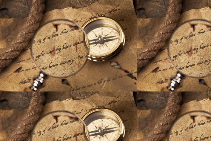 Tapeta Pixerstick Vintage navigační vybavení, kompas a jiné nástroje - Lodě