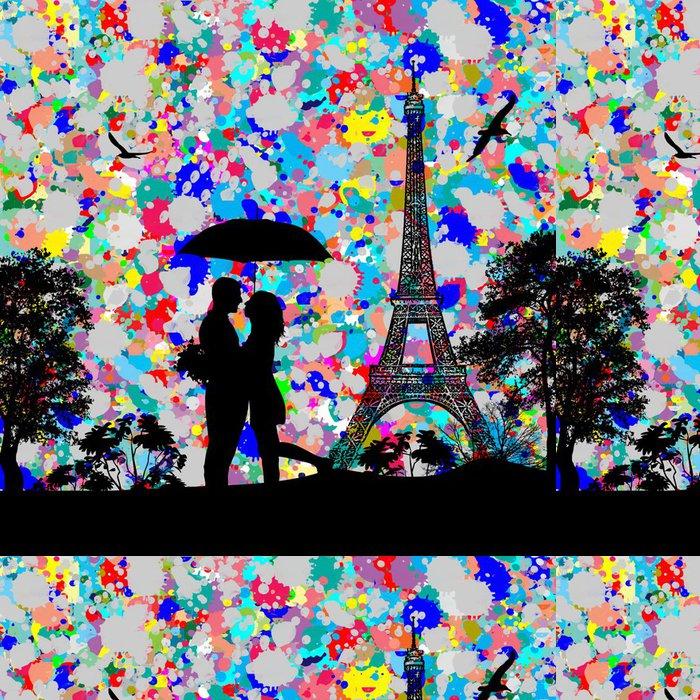 Vinylová Tapeta Vintage pohled na Paříž s barevným šplouchnutím - Pozadí