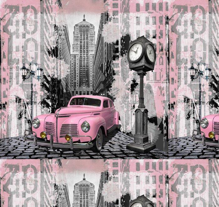 Tapeta Pixerstick Vintage růžové auto -