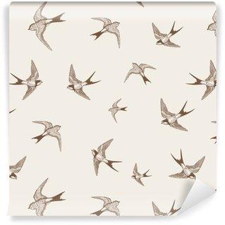 Tapeta Winylowa Vintage, wzór z białymi małymi jaskółkami
