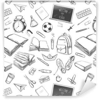 Vinylová Tapeta Vítám zpět do školy vektorové bezproblémové vzor. ručně tažené prvky. školní potřeby. knihy, notebook, kopírka, batoh, lampa, budík, fotbal, tenisky, tabule, tužka, značka, gumu