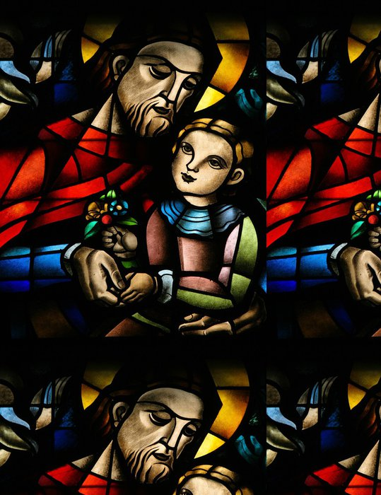 Tapeta Pixerstick Vitráže okno zobrazující Ježíše a dítě - Veřejné budovy