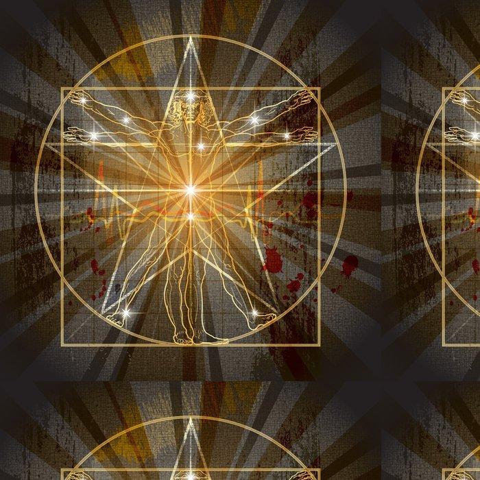 Tapeta Pixerstick Vitruvian Man Zapsáno ve středověké Mystic Pentagramu - Ezoterika