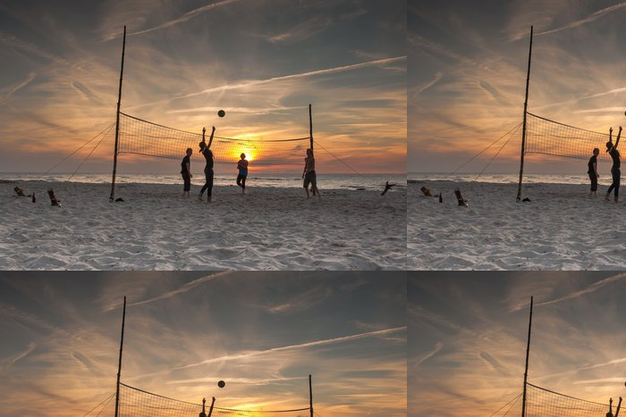 Tapeta Pixerstick Volejbal na pláži při západu slunce - Volejbal