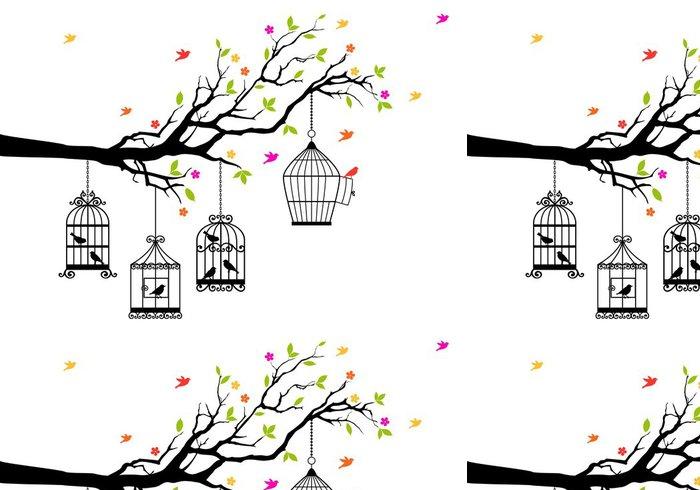 Tapeta Pixerstick Volné ptáky a klece, vektorové ilustrace - Osud