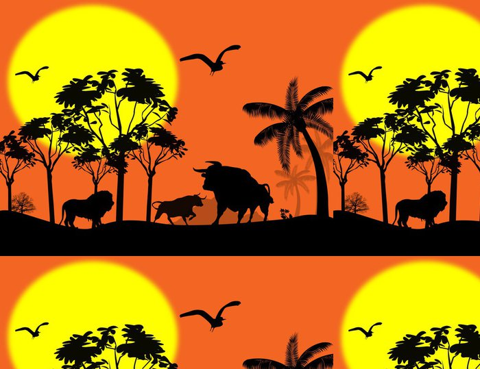 Tapeta Pixerstick Volně žijících živočichů v krásné krajině - Savci