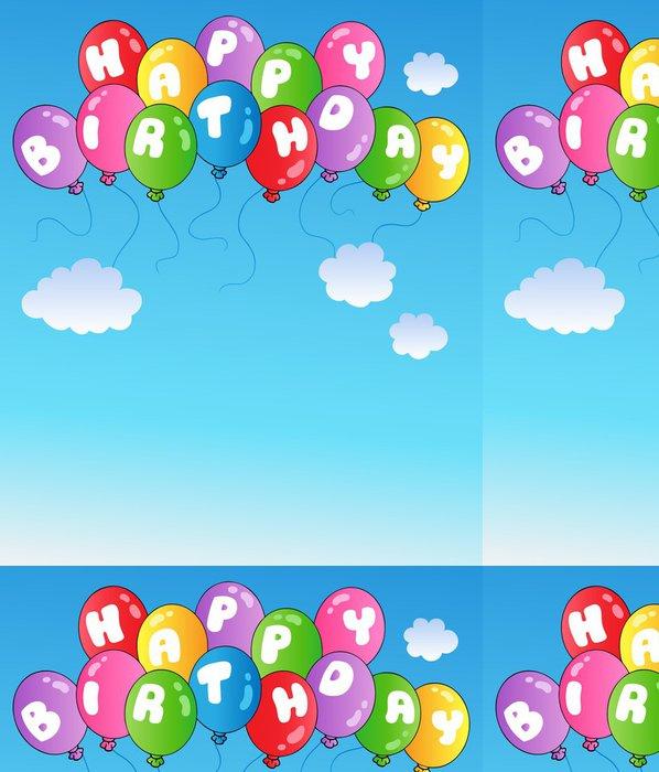 Vinylová Tapeta Všechno nejlepší k narozeninám balóny na modré obloze - Slavnosti