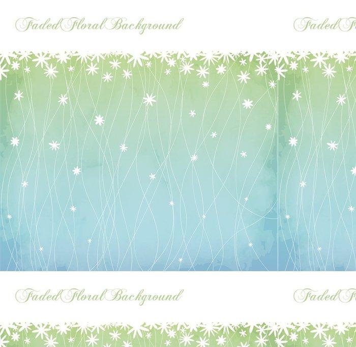 Tapeta Pixerstick Vybledlé Květinové pozadí a Květinový okraj v prášku modré - Pozadí