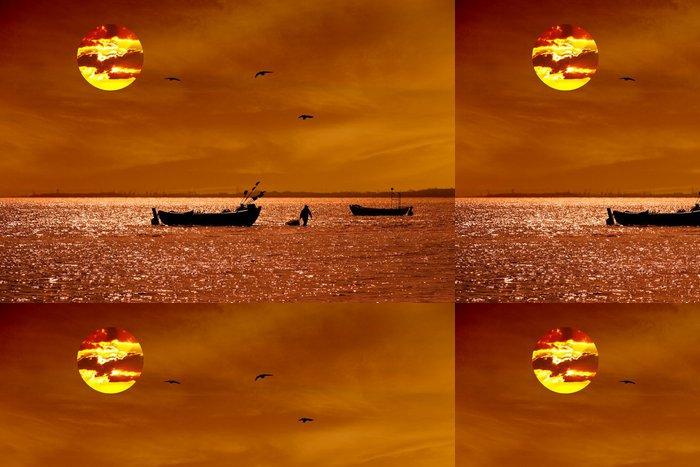 Vinylová Tapeta Východ slunce s rybářskou loď - Voda