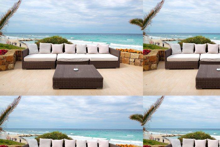 Vinylová Tapeta Výhled na moře terasa u pláže v moderní luxusní hotel, Thassos - Prázdniny