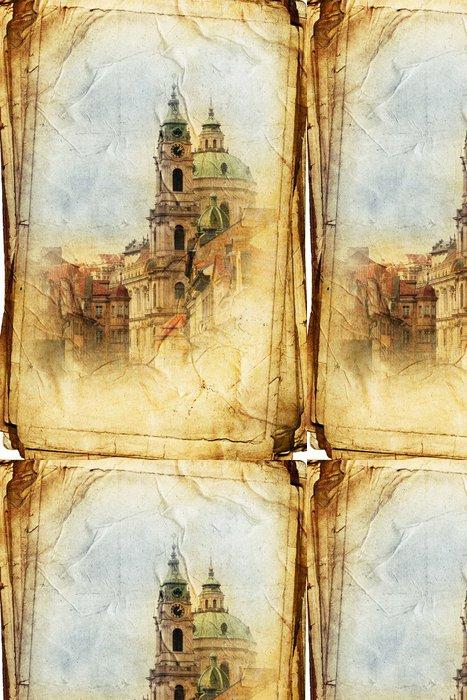 Tapeta Pixerstick Výhled na Prahu z ve vintage stylu, stejně jako pohlednici - Evropská města