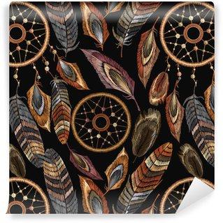 Vinylová Tapeta Výšivka dreamcatcher boho bezešvé vzor. rodilý americký indiánský talisman dreamcatcher. oblečení etnický styl. módní návrhářské šaty. magické tribalové peří vzor, tričko design