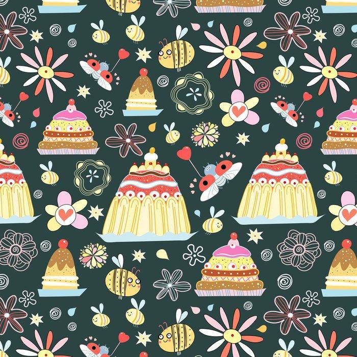 Vinylová Tapeta Vzor koláčů a hmyzu - Mezinárodní svátky
