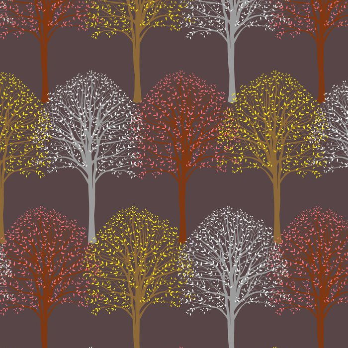 Vinylová Tapeta Vzor se stromy - Roční období
