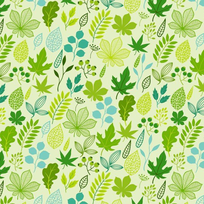Vinylová Tapeta Vzor se stylizovanými zelenými listy. - Rostliny