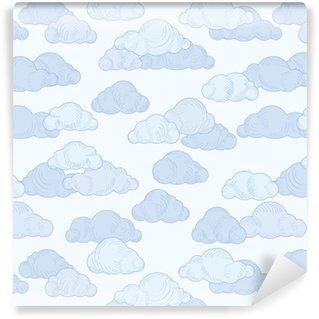 Vinylová Tapeta Vzorek mraků doodle. zamračená obloha bezproblémové ornamentální pozadí