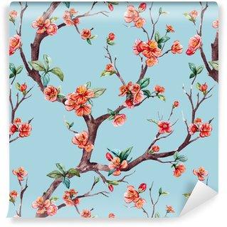 Vinylová Tapeta Watercolor raster sakura pattern